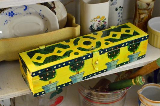 Painted wood box