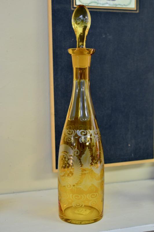 Antique amber decanter