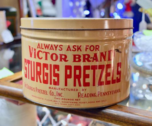 Victor brand Sturgis Pretzels tin