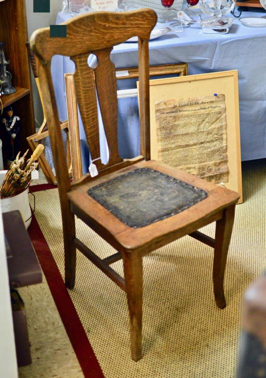 Antique wood chair w/ leather seat