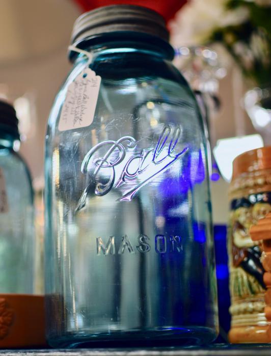 Aqua Ball vintage half gallon jar w/ lid