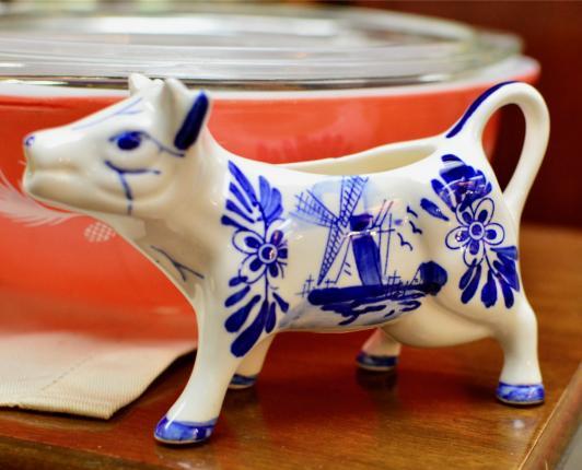 Blue & white cow creamer