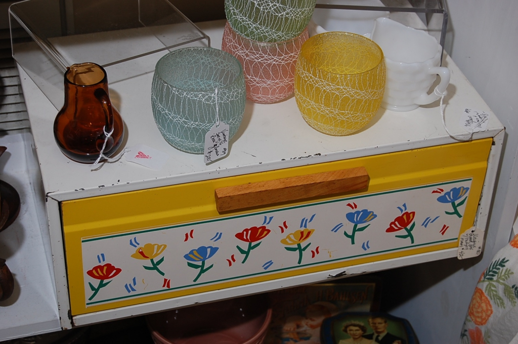 Vintage Bread Box with Tulips