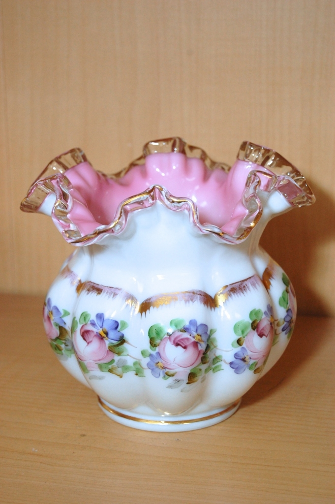 Floral Ruffled Glass Bowl