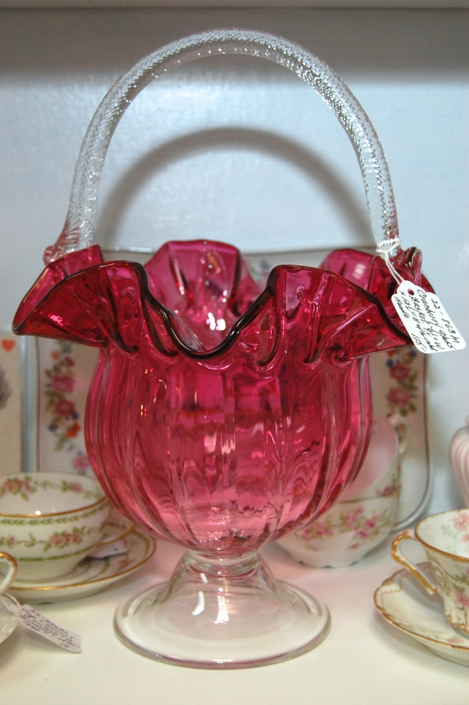 """Cranberry Glass Basket 9 1/2""""w x 12 1/2"""" H with handle"""