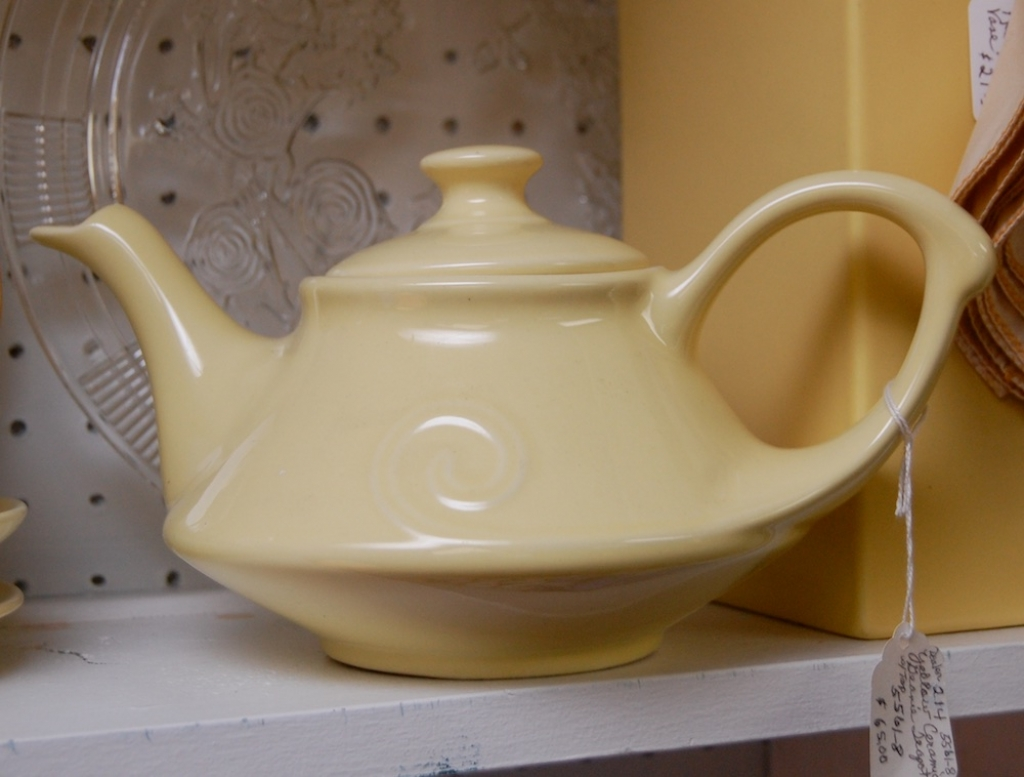 Yellow Ceramic Genie Teapot with Lid
