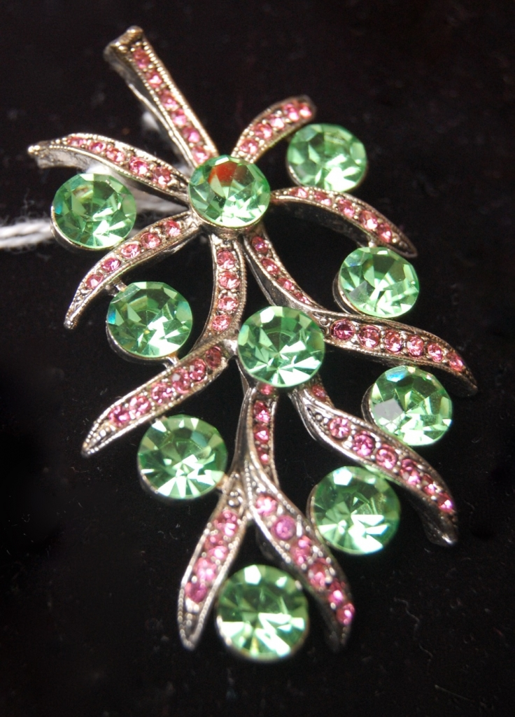 "Weiss pin ""stem"" pink & green stones on silver metal"