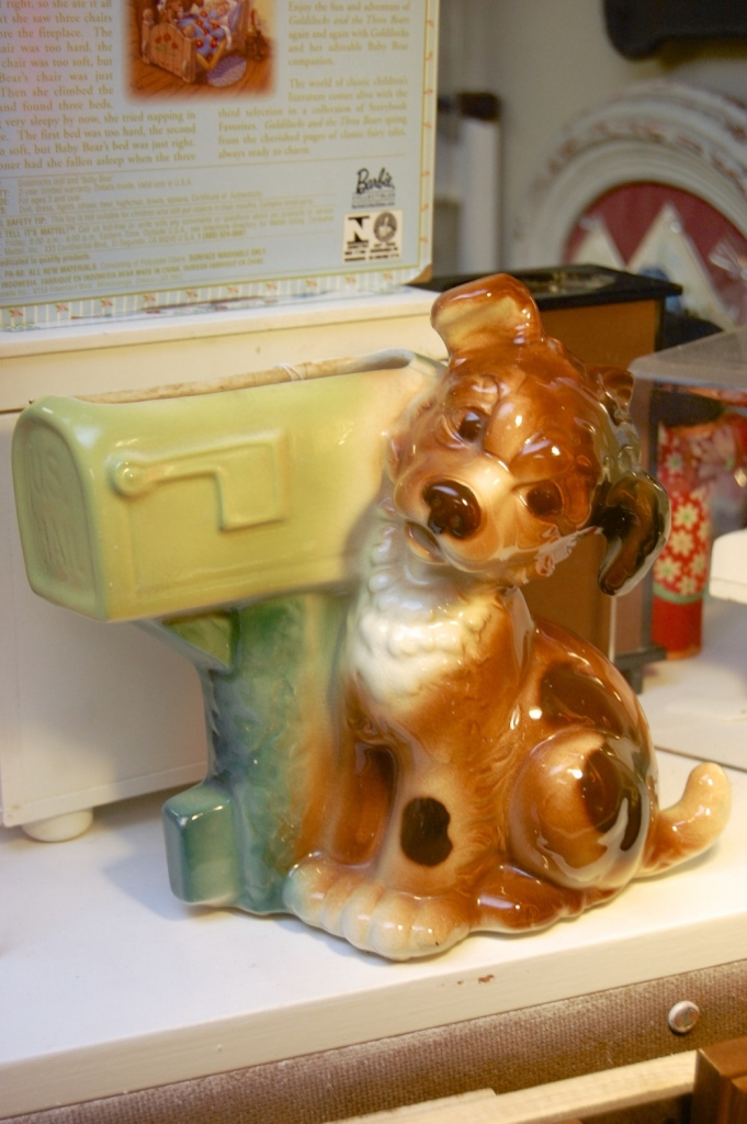 Vintage Royal Copley 50's Puppy at Mailbox Planter