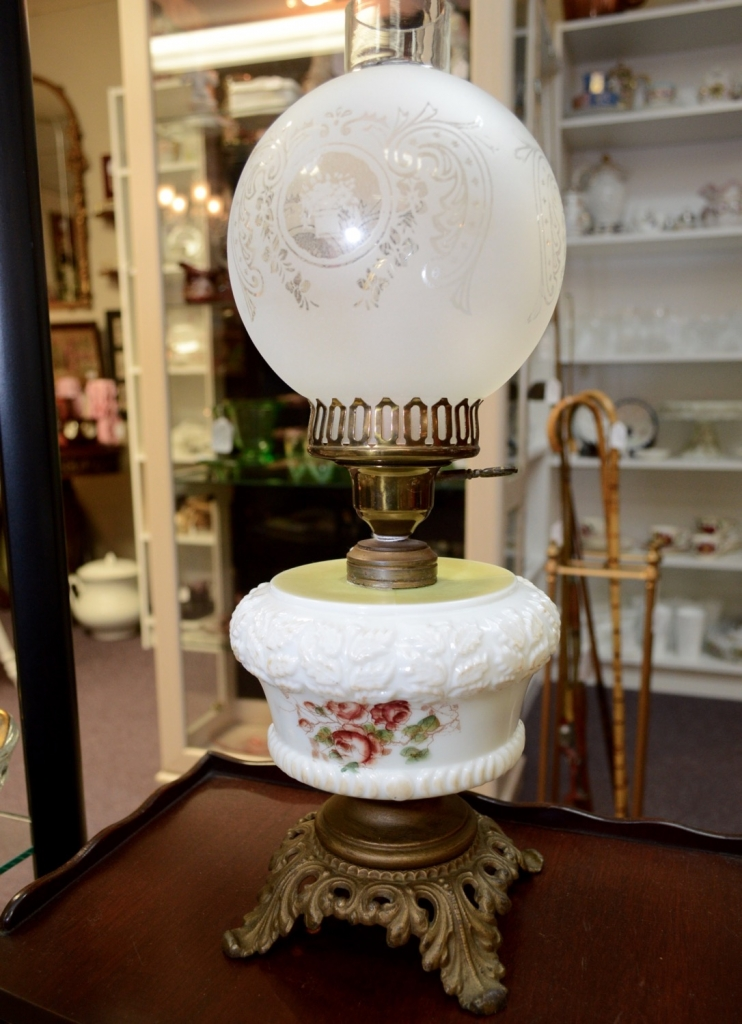 Pittsburgh Lamp Brass & Glass Co. Kerosene Lamp - electrified c. 1901 - 1926