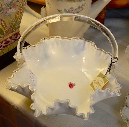 Fenton Art Glass  basket with original tag