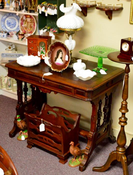 Gothic revival walnut parlor or library table With trefoils, dovetail & leather top. Circa 1860-1880