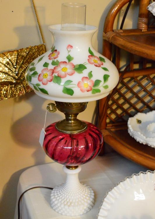 Vintage lamp with  cranberry glass and milk glass painted with flowers