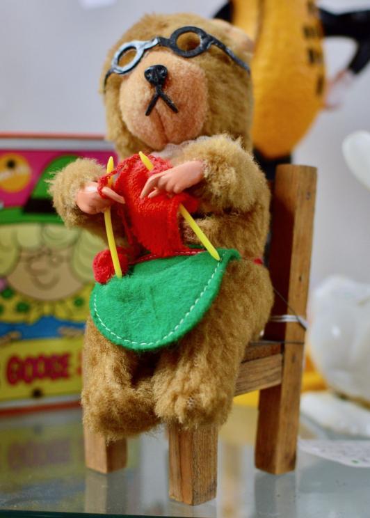 Carl original wind up knitting bear W. Germany