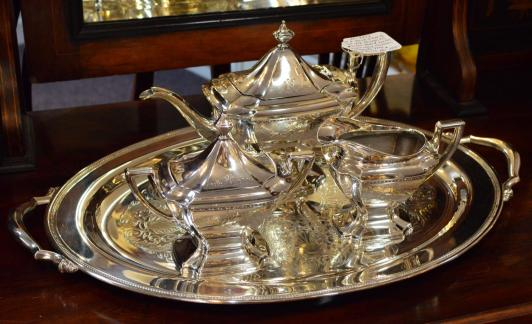 W.D. Smith silver plated tea pot, sugar, creamer on Oneida tray. 5pcs