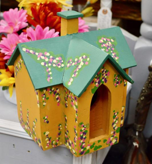 Gold bird house w/ green roof. Hand painted & hand crafted
