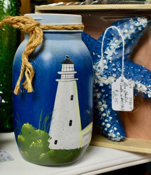 Lighthouse painted jar with jute tie