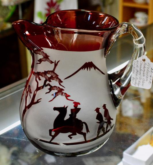 Victorian bohemian glass cranberry pitcher with glass overlay and figures