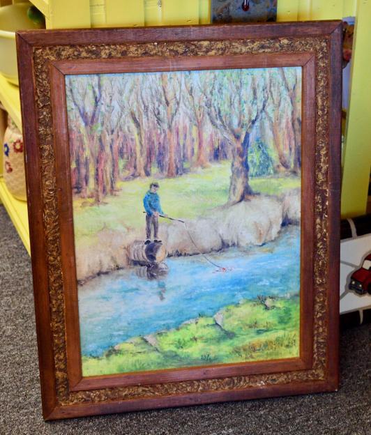 1968 boy fishing painting