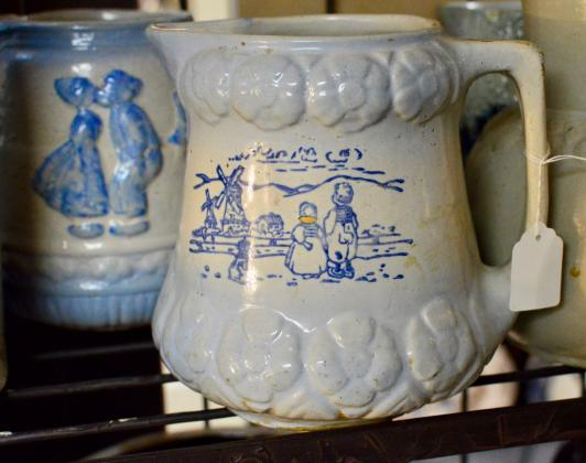 Blue & white Dutch stoneware pitcher