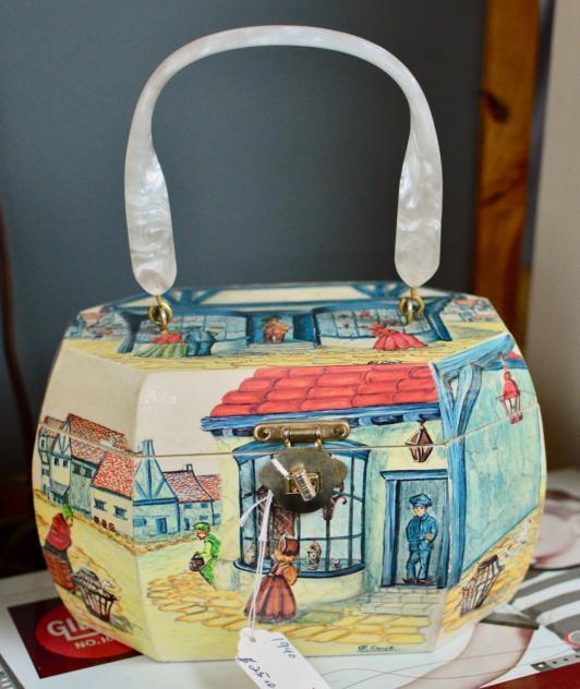 Painted box purse