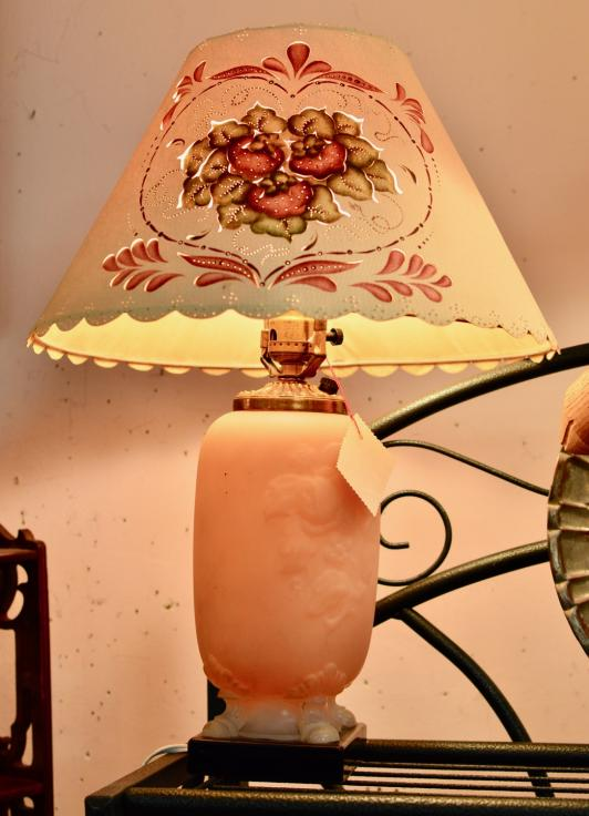 Old salmon pink and white lamp – frosted and footed