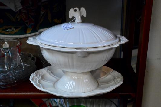 White ceramic soup tureen w/ lid & charger