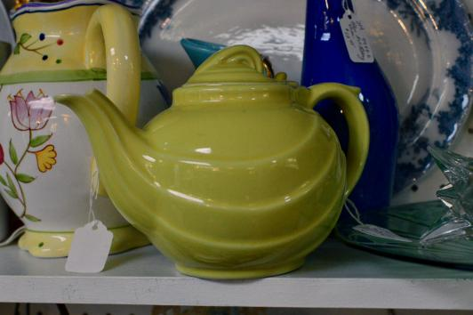 Yellow hall swirled teapot