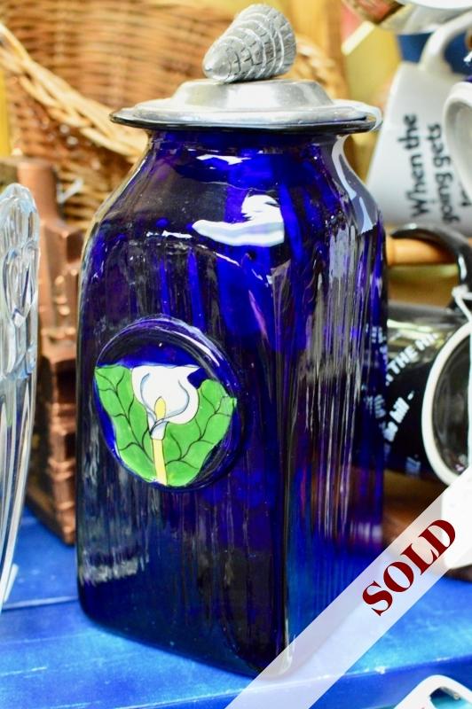 Cobalt blue large glass jar w/ shell top