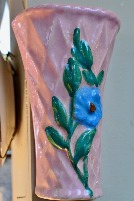 Pink w/ blue flower wall pocket planter