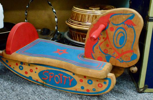 Spotty wooden rocking ride on toy