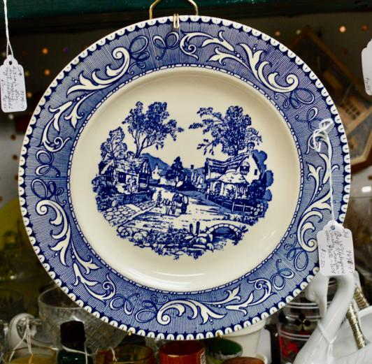 "Blue & white ""Shakespeare Country"" transferware plate USA"