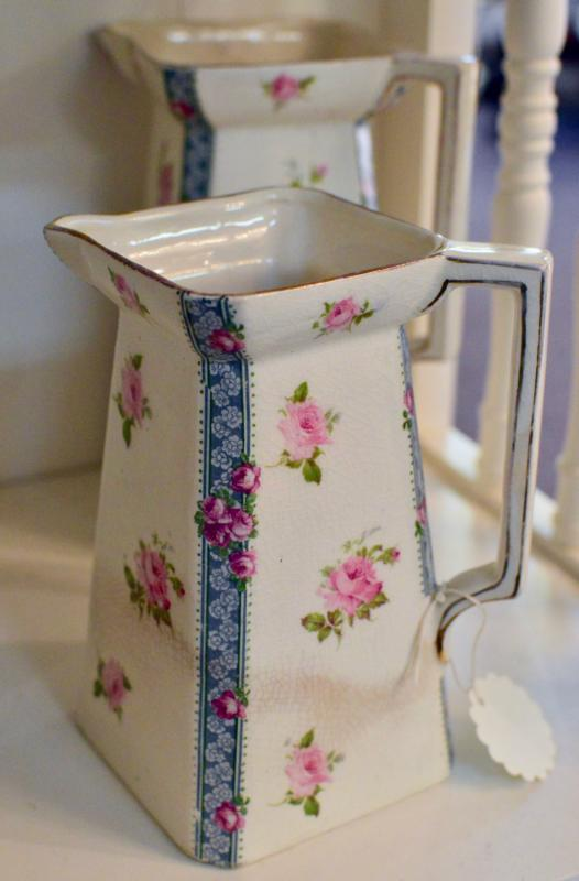 Square bottom floral pitcher 6 1/2 inches tall