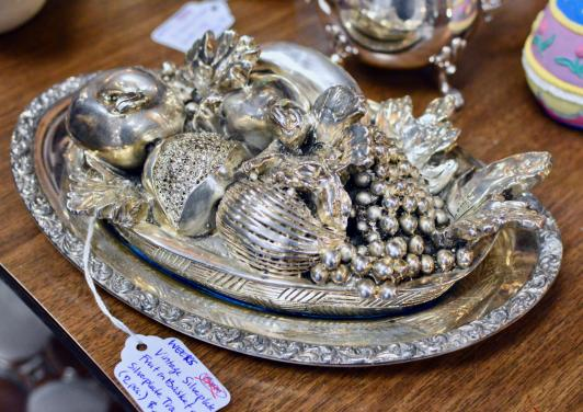 Vintage silver plate fruit basket on silver plate tray