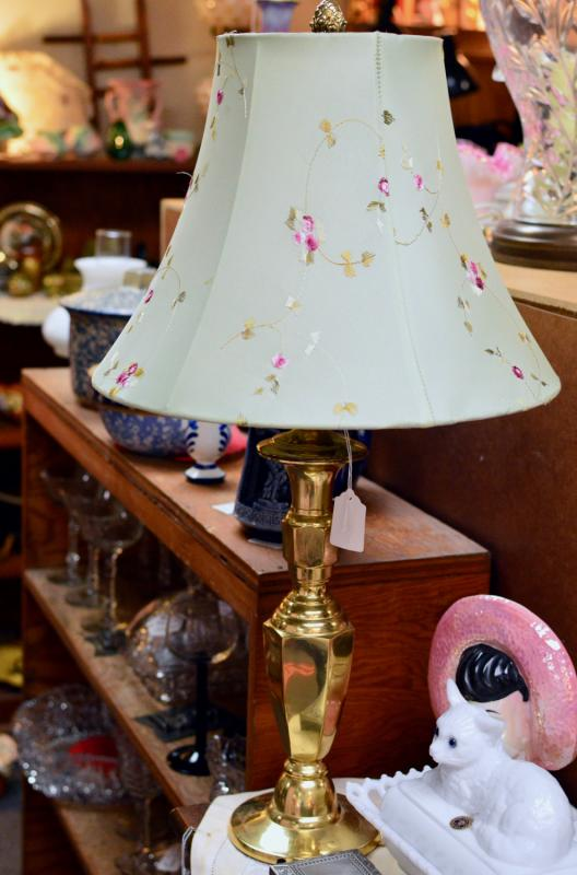 Brass lamp w/ green floral shade